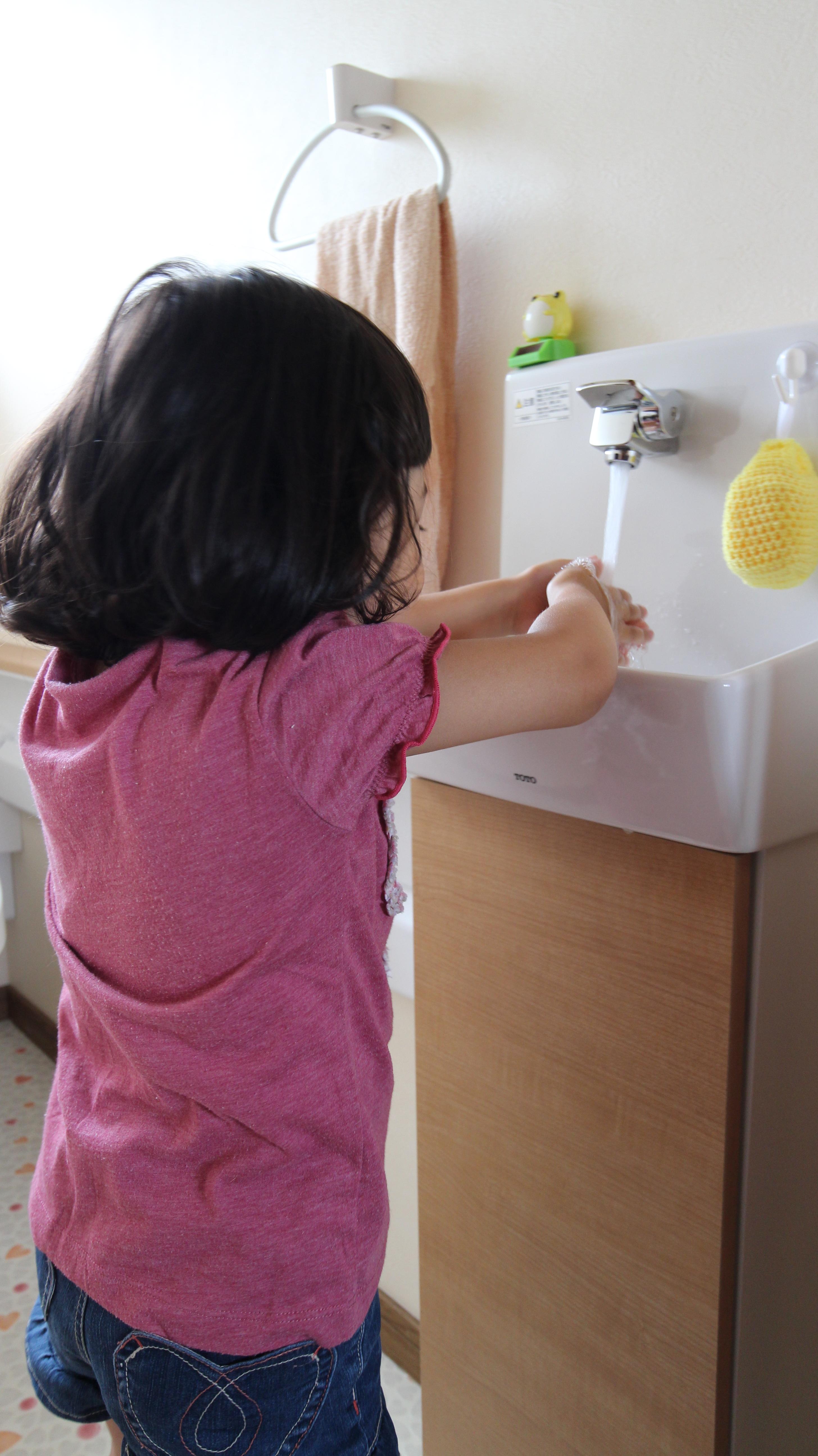 「喜んで手を洗います」と施主様
