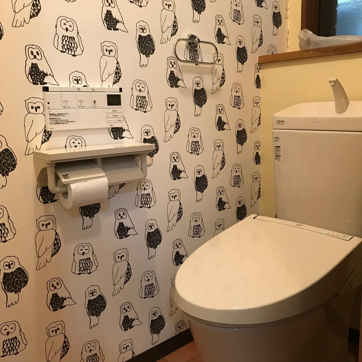 ふくろうのクロスがポイントのトイレ